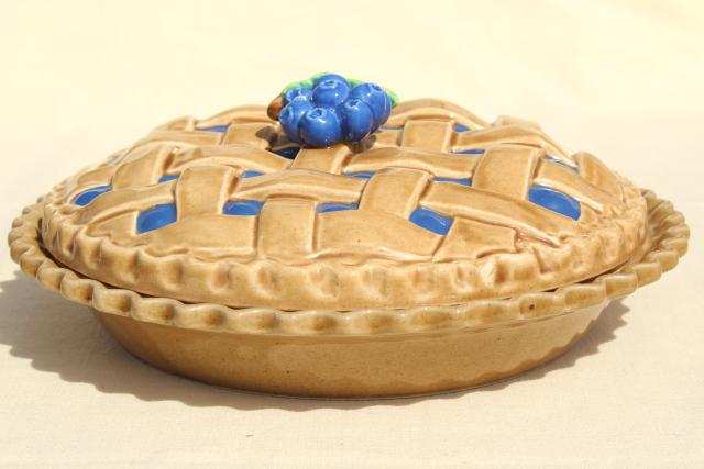 & vintage blueberry pie cover ceramic pie plate pan w/ printed recipe