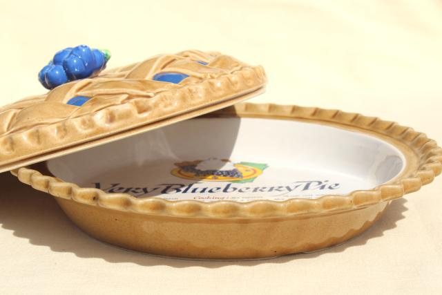 & vintage blueberry pie cover ceramic pie plate pan w/ printed recipe