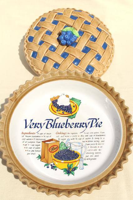 vintage blueberry pie cover ceramic pie plate pan w/ printed recipe  sc 1 st  Laurel Leaf Farm & blueberry pie cover ceramic pie plate pan w/ printed recipe
