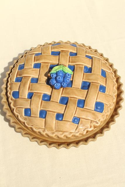 Vintage Blueberry Pie Cover Ceramic Pie Plate Pan W