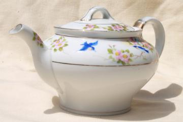 vintage bluebird china tea pot, hand painted Nippon porcelain teapot w/ blue birds