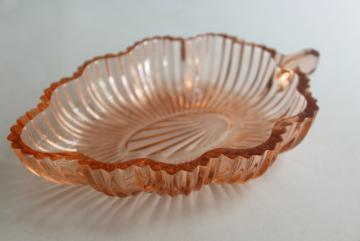 Pink Depression Glass Footed Fruit Bowl Vintage 1930s 1940s Swirled Pink Glass Serving Bowl