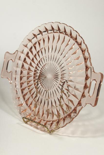 Vintage Blush Pink Depression Glass Serving Plate Tray