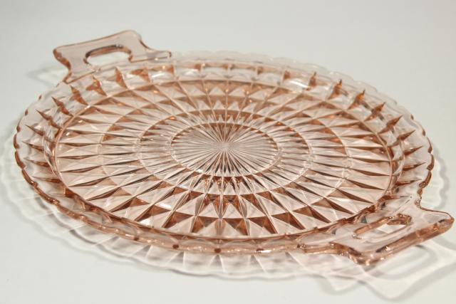 vintage blush pink depression glass serving plate tray, Jeannette Windsor pattern