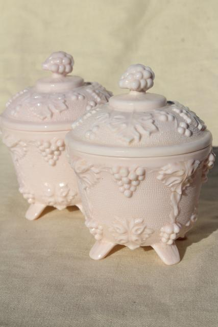 Vintage Blush Pink Milk Glass Candy Dishes 1950s
