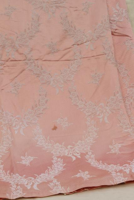 vintage blush pink satin damask bedspread, french country style jacquard fabric