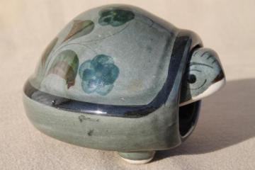 vintage bobble head Tonala Mexican pottery turtle, bobbing head tortoise bobber
