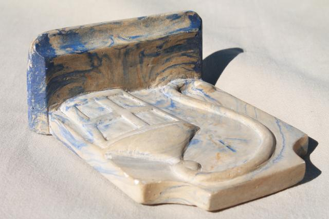 vintage book end, faux marble w/ lantern, marbled blue veined plaster chalkware