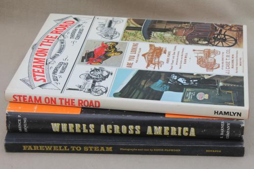 vintage books lot, antique steam engines, early autos & steam tractors