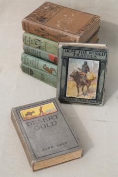 vintage books w/ lovely old cloth covers, boys adventure stories, classics, westerns