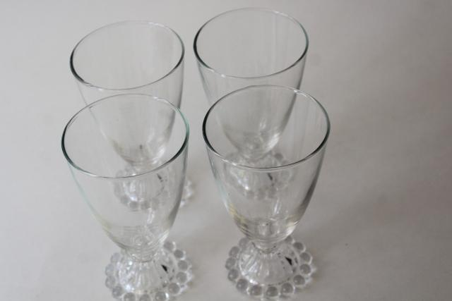 vintage boopie beaded edge pattern crystal clear footed tumblers, water or wine glasses