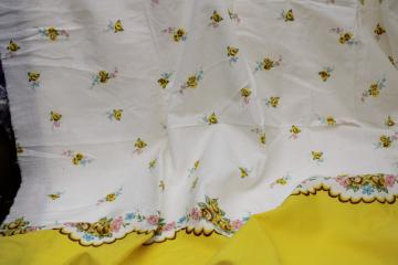 vintage border print cotton lawn fabric, pillowcases yardage floral w/ yellow