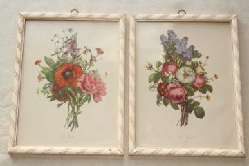 vintage botanical prints, floral still-life pictures framed pair shabby cottage chic