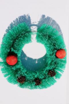 vintage bottle brush Christmas wreath, 1950s retro holiday door decoration