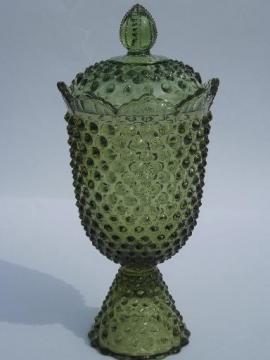 vintage bottle green hobnail glass apothecary jar, covered candy canister