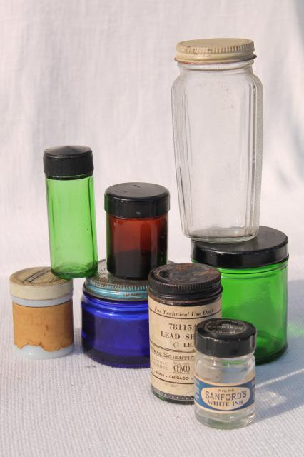 vintage bottles & jars - blue, green, amber, milk glass old medicine bottle lot