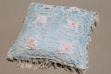vintage boudoir cushion or throw pillow w/ crochet lace flowers in cotton thread
