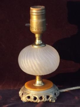vintage boudoir lamp, 30s deco butterscotch bakelite and frosted glass