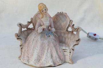 vintage boudoir lamp, china figurine of a beautiful lady on french rococo sofa