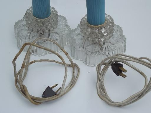 vintage boudoir lamps pair, pressed glass and plastic or bakelite