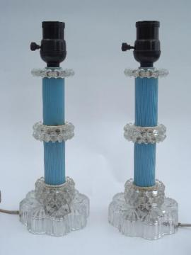 vintage boudoir lamps pair, pressed glass and plastic or bakelite