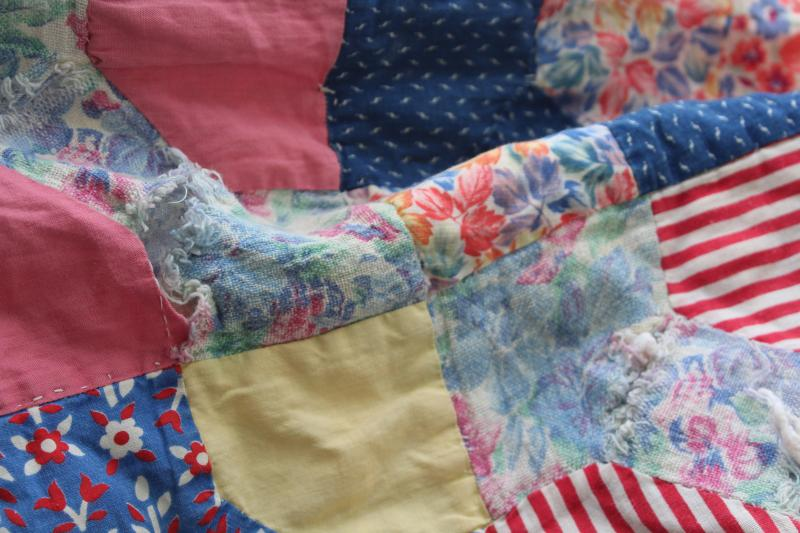 vintage bow tie patchwork quilt reversible to blue flowered feedsack fabric