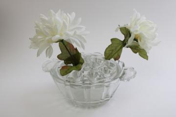 vintage bowl vase w/ removable frog flower holder, clear pressed glass
