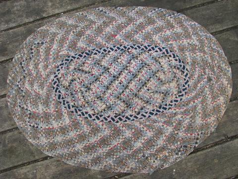 Vintage Braided Cotton Rag Rug, Throw Rug Or Door Mat For Kitchen Or Porch