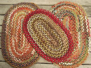 vintage braided rug lot, new old stock chenille rugs w/ Spartan labels