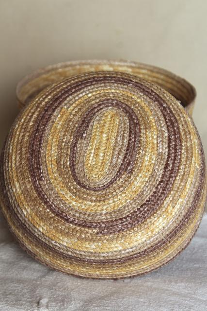vintage braided straw basket bowls, rustic natural textural neutral colors