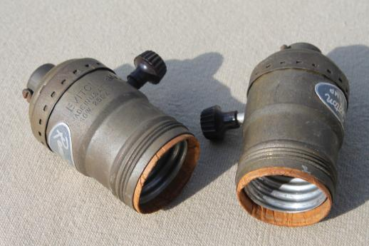 Vintage Brass Leviton Lamp Sockets, Tarnished Brass W/ Remmington Lamp  Labels
