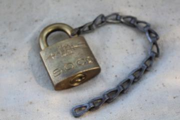 vintage brass XLCR padlock, old Corbin lock marked for Standard Oil, no key