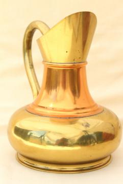 vintage brass and copper pitcher, rustic English brass water jug or vase