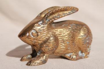 vintage brass animal figurine, solid brass bunny rabbit w/ rustic tarnished patina