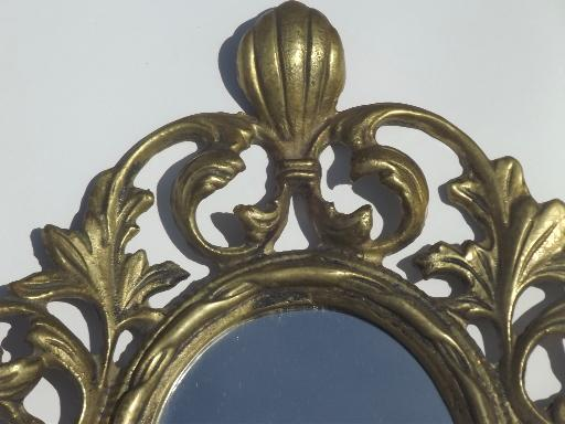 Mirror Sconces Wall Decor: Vintage Brass Candle Holder, Wall Sconce W/ Mirror In
