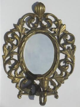 vintage brass candle holder, wall sconce w/  mirror in ornate oval frame