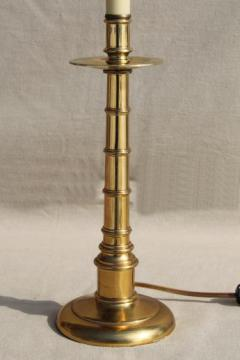 vintage brass candlestick lamp, colonial bamboo desk or table lamp w/ candle stick bas