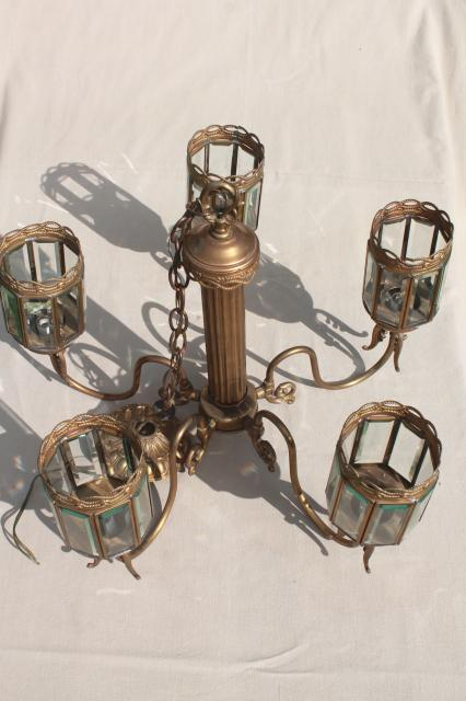 vintage brass chandelier light w/ prism beveled paneled glass lantern lamp shades