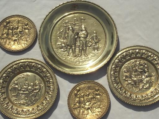 Vintage Brass Chargers Amp Plates Old English Beaten Brass