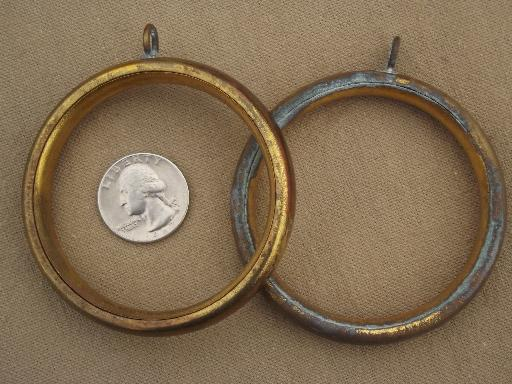 vintage brass curtain rings, 60s 70s retro big round curtain rings lot