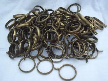vintage brass curtain rings for cafe curtains, retro drapery hardware lot