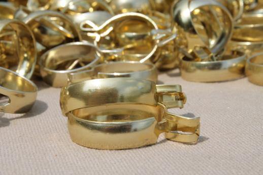 vintage brass curtain rings, lot of 100 curtain clips for cafe curtains