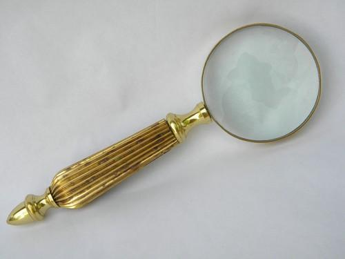 vintage brass desk magnifying glass with 3'' lens