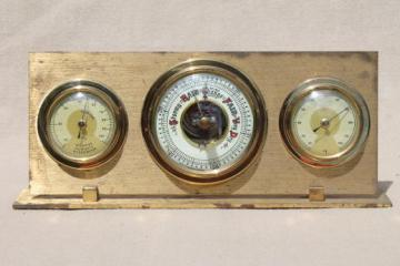 vintage brass desktop barometer, late 40s weather station instruments made in Western Germany
