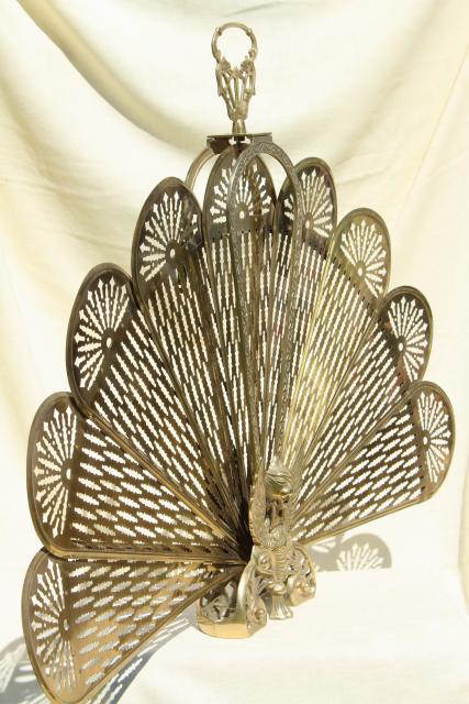 vintage brass fireplace screen, folding fan fire screen w/ winged phoenix  or peacock