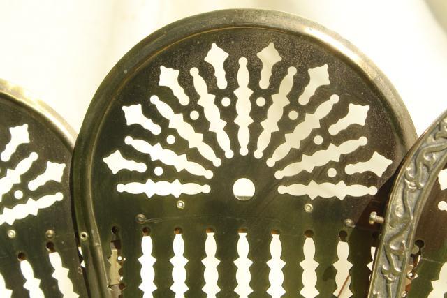 Antique Fireplace Screen >> vintage brass fireplace screen, folding fan fire screen w ...