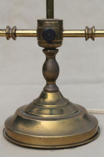 vintage brass game table lamp or student lamp w/ twin light branched candle stick base