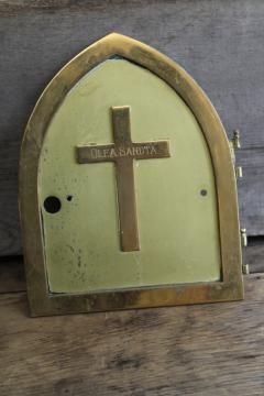 vintage brass holy oil door w/ raised cross, architectural piece from old Catholic church