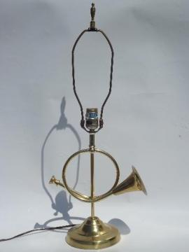 vintage brass horn piano lamp, music room table lamp or desk light