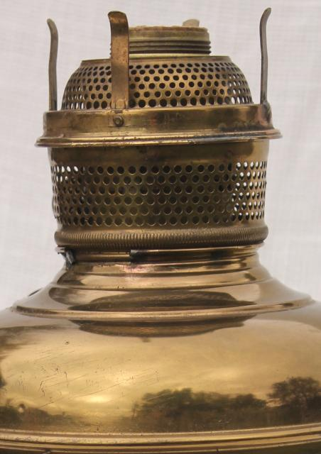 vintage brass lamp w/ glass chimney, old oil lamp converted to electric light